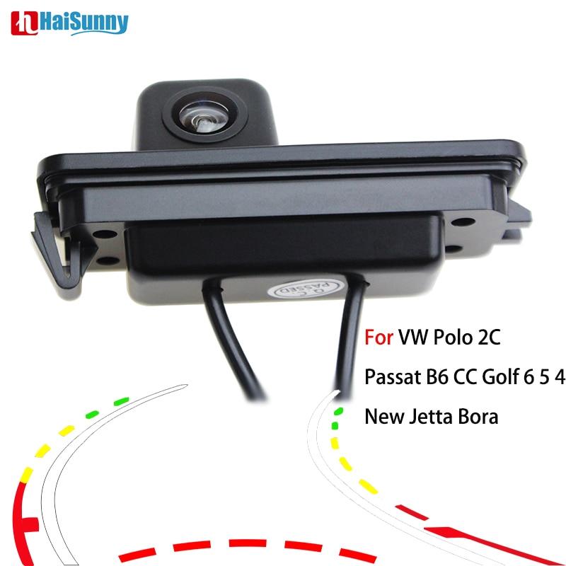 HaiSunny inteligente nuevo trayectoria dinámica pistas cámara de visión trasera para VW Polo 2C Passat B6 CC Golf 6 5 4 nuevo Jetta Bora