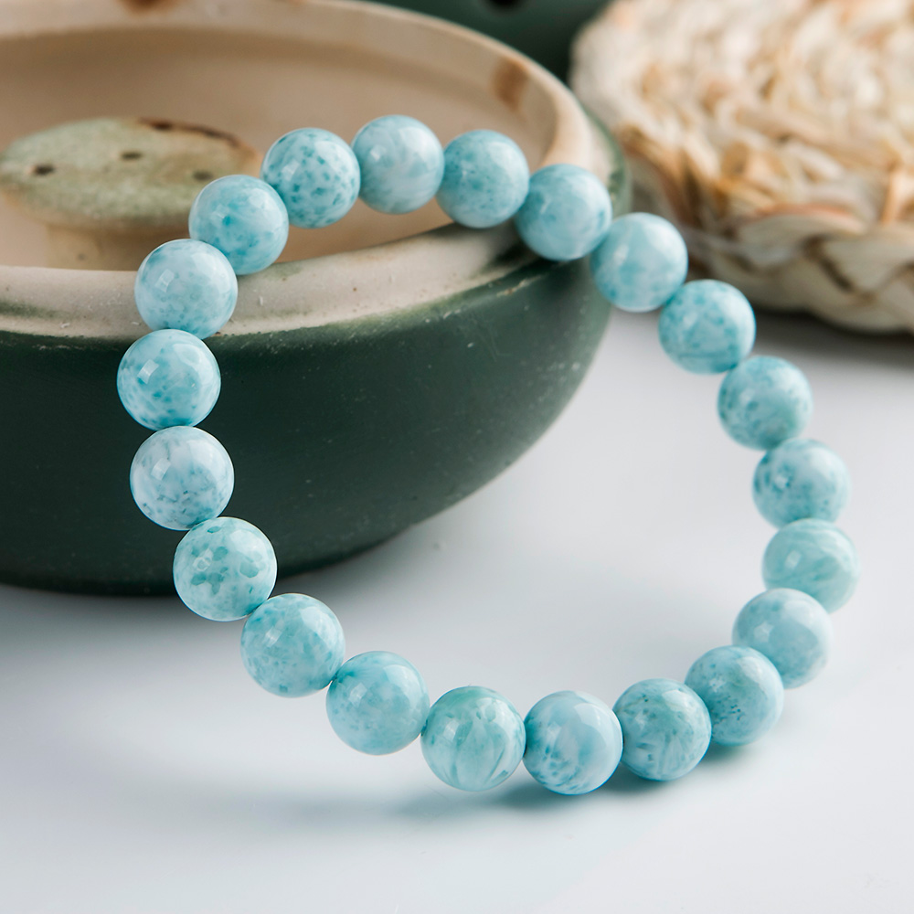 Wholesales 8 5mm 100 Natural Blue Larimar Gemstone Round Beads Bracelet Stretch From Dominica Bracelet AAAAAA