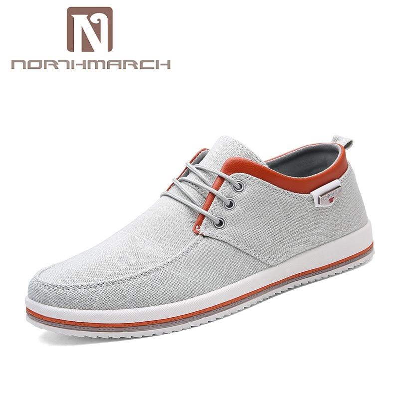 NORTHMARCH 2018 nuevos Zapatos de lona de los hombres ocasionales de los hombres de la alta calidad cordón respirable Espadrilles hombres Zapatos Hombre