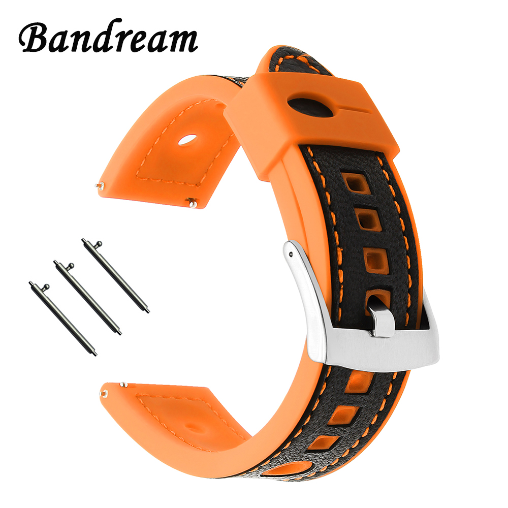 22mm Genuine Leather + Silicone Rubber Watchband for Breitling Omega Mido IWC Maurice Lacroix Watch Band Steel Buckle Strap Belt
