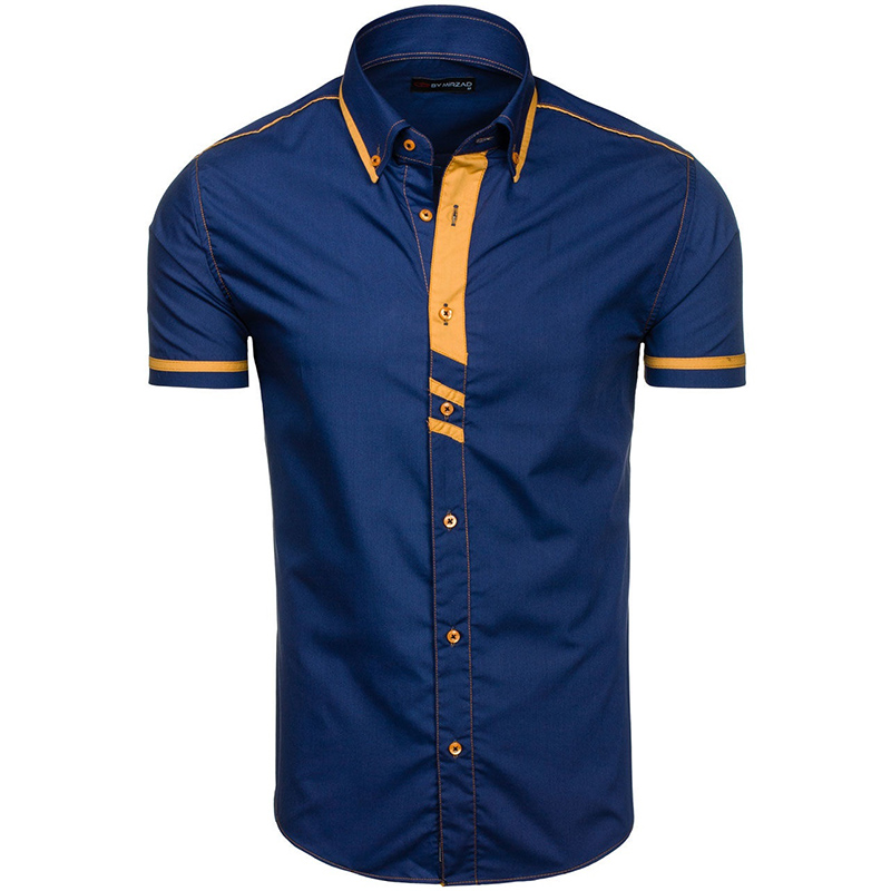 Zogaa Summer Mens Shirts Short Sleeve Contrast Color Smart Casual Dress Shirts Breathable Business Fashion Shirt Men 2019