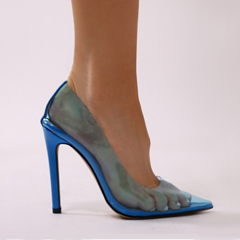 0923e334abf THEMOST Adorable Womens Candy Color Clear Perspex Stiletto Heel ...