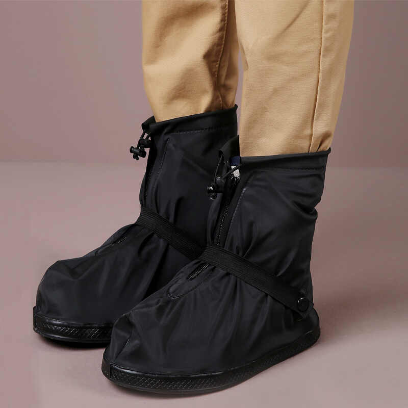 Unisex 25.5-32cm Black and Transparent Reusable Rain Shoe Covers Waterproof Plastic Shoe Cover Anti-slip Overshoes Outdoor