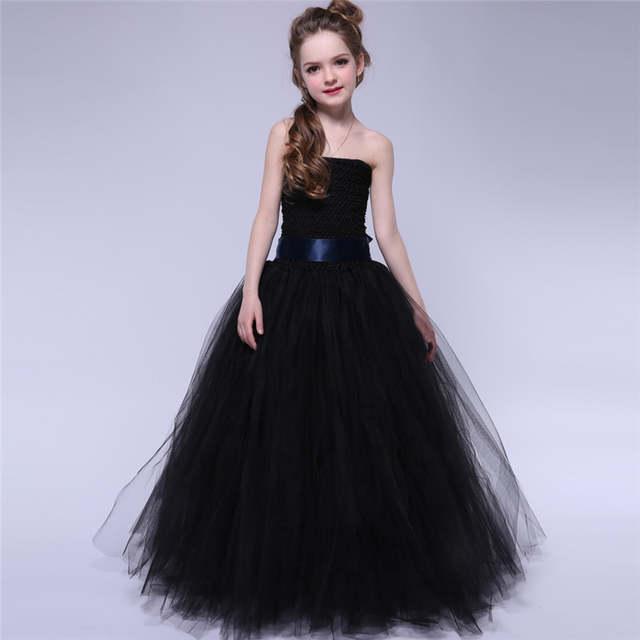 Vestiti Eleganti Halloween.Black Girls Tutu Dress Elegant Princess Tulle Girl Wedding