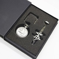 FullMetal Alchemist Quartz Pocket Watch With Necklace Ring Set Men Women Jewelry Set Gifts Box