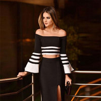 2016 New Women Winter Elegant Bandage 2 Piece Set Slash Neck Flare Sleeve Black And White