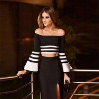 2016 New Women Winter Elegant Bandage 2 Piece Set Slash Neck Flare Sleeve Black And White