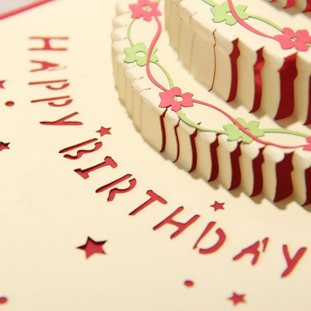 3d Pop Up Handmade Laser Cut Vintage Cards Birthday Cake With Candle