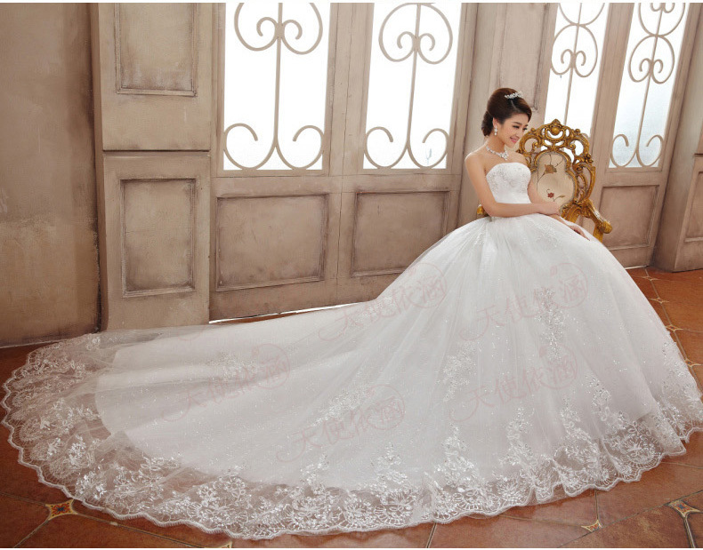 Wedding Dresses 2015 Luxury Princess Lace Embroidery Strapless Long ...