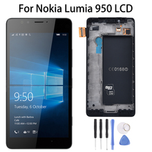 цена на Single SIM Original For Nokia Lumia 950 RM-1104 RM-1118 LCD Display with Touch Screen Digitizer Replacement With Frame