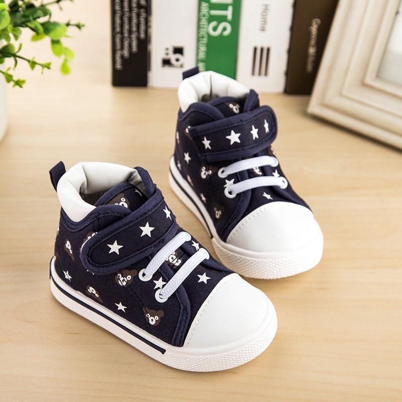 2017 весна малюк дитяче взуття дівчатка хлопчиків взуття мода зірки друку полотно високі топ кросівки дитяче взуття для хлопчиків повсякденне взуття