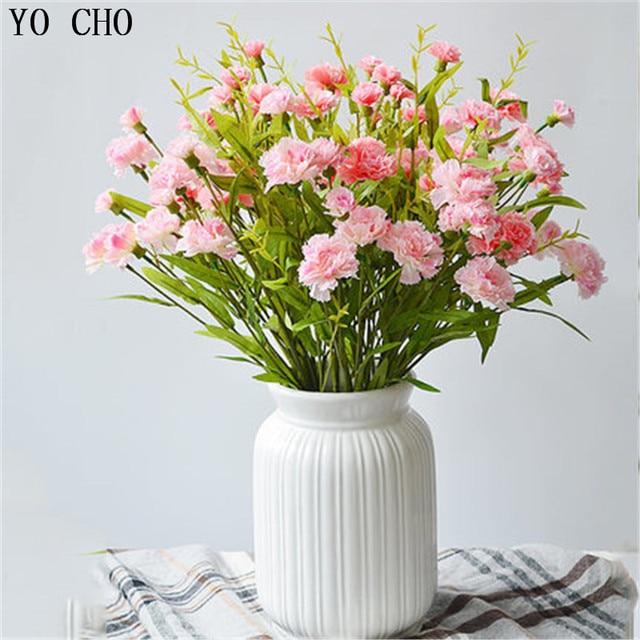 Yo Cho Autumn Decoration Fake Flowers 6 Heads Artificial Silk Carnations Flower Bridal Party Wedding Decor