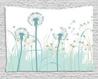 Spring Tapestry Silhouette Dandelion Floral Foliage Seasonal Blooms Botany Eco Illustration Wall Hanging Khaki Almond Green