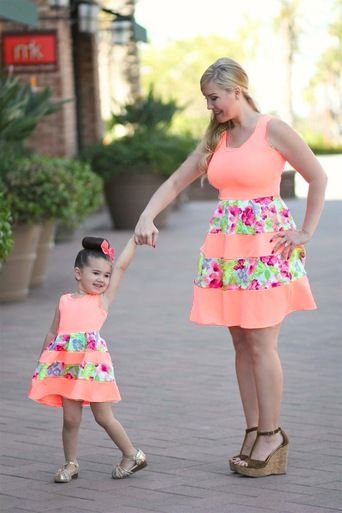Fashion Mother and Daughter Dress Family Matching Bohemia ...