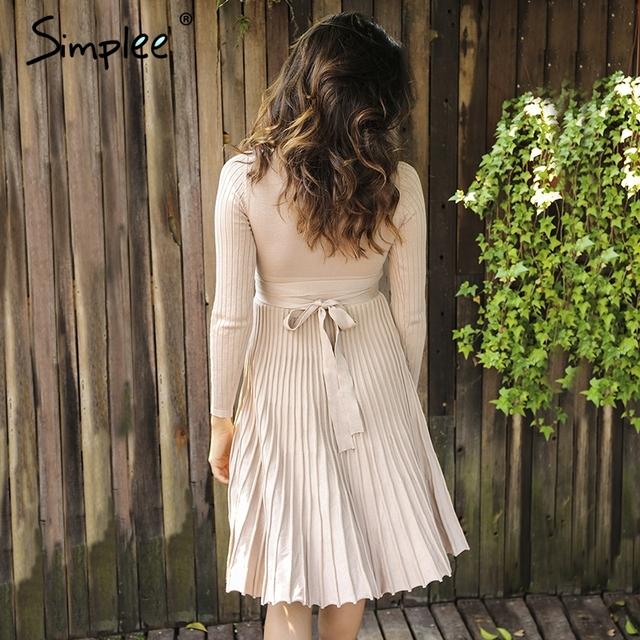 Simplee Vintage ruffle 2017 beach summer dress women Bow lace up sexy dress Deep V elastic long sleeve dress vestidos de fiesta
