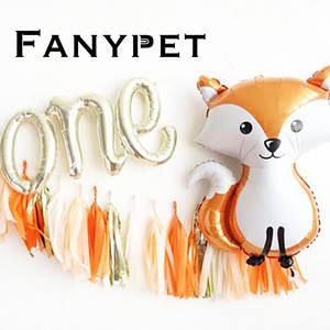 Helium Ballon Shower-Decor Jungle Party-Decorations Raccoon-Fox One Birthday Kids Letter