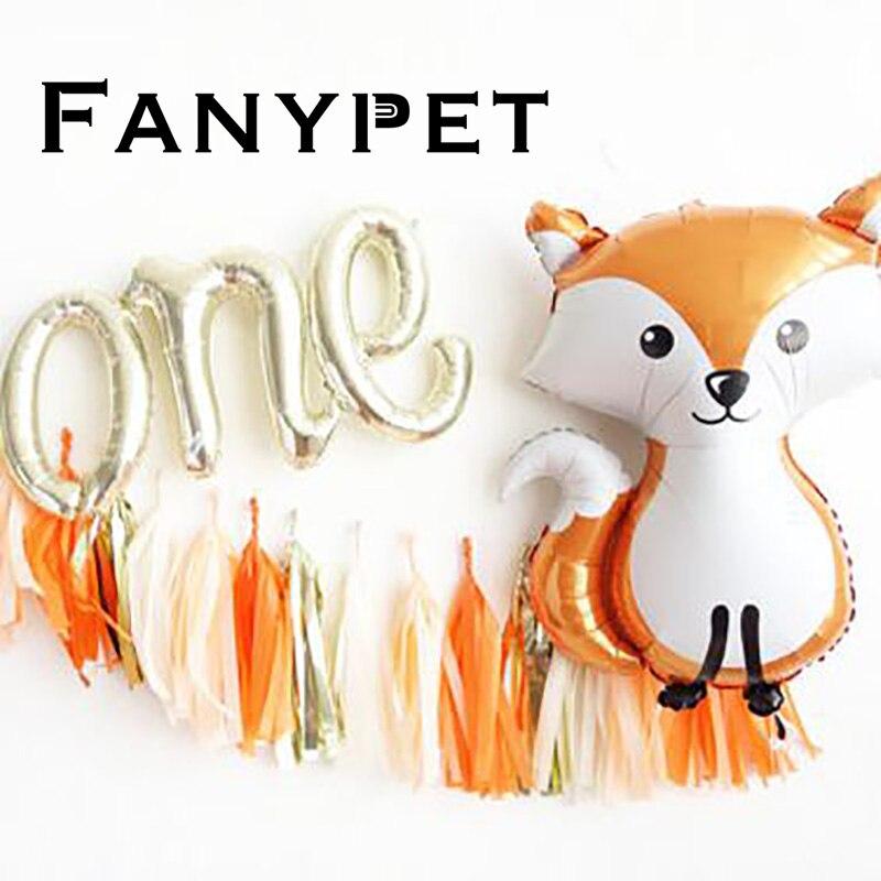 Большие воздушные шарики в виде животных, енота, лисы, баллон гелия, надпись, один день рождения, джунгли, вечерние украшения, детские игрушк...