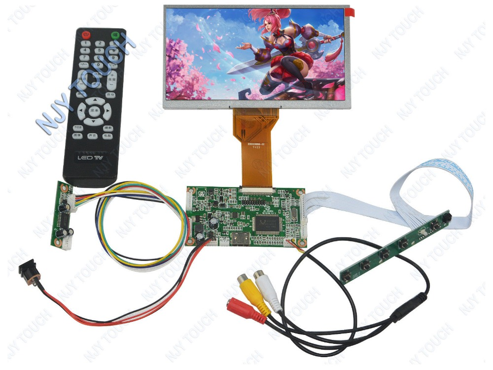 LCD controller board HDMI AV Remote Control with AT065TN14 50Pin TTL 800x480 LED TFT LCD Screen Raspberry Pi