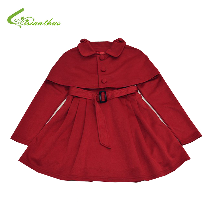 ФОТО Free shipping 2017 Kid Girl Fashion Solid Color Wind Coat outerwear child girl cappa dress jacket spring autumn winter girl coat