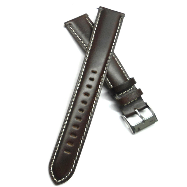 9ba54964619 Italy Oil Calf Genuine Leather Watch band 20mm Watch Strap Dark Brown  Watchband Lengthening For Man