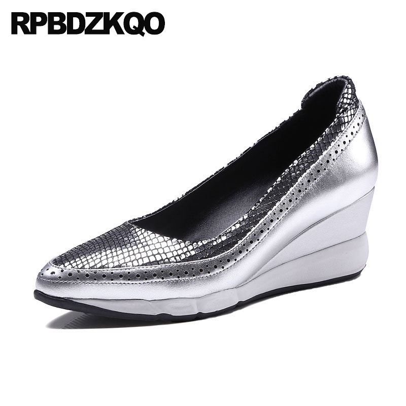 Wedge Snakeskin Pointed Toe Luxury Brand Shoes Women Genuine Leather Size 4  34 Pumps Snake Silver Celebrity High Heels Metallic 841943166e92
