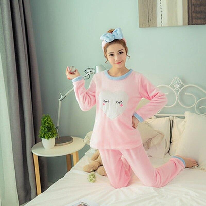 2 PIECE Winter   Pajama     Set   Nightwear Pijama women lingerie Flannel Pyjama Cute Full Length Warm Cartoon home clothes