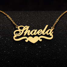 Personalized Any Name Necklace With Heart Ribbon Handmade Gold Color Name Heart Necklace Gold Chain Ribbon Nameplate Pendant breast cancer ribbon with epoxy heart charm pendant necklace