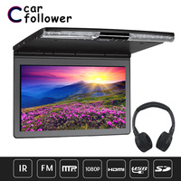 17.3 Inch Car Roof Screen FHD 1920x1080 Flip Down Car Screen MP5 Player With HDMI/USB/SD/IR/FM Transmitter/Speaker TV For Car