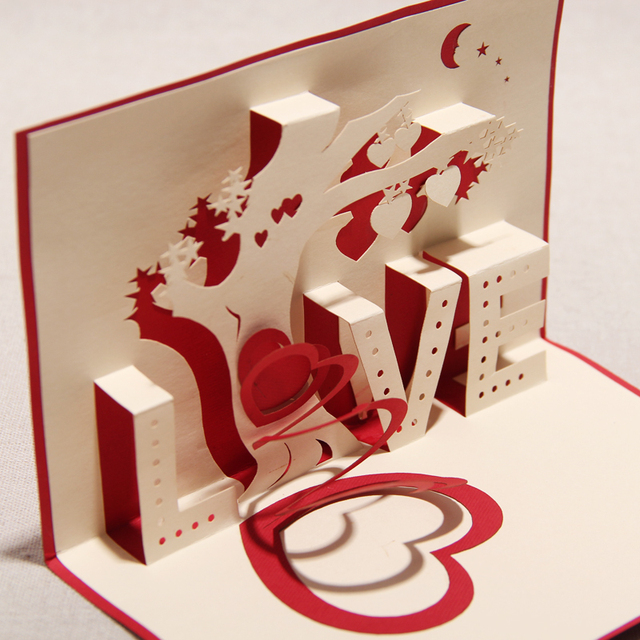 Three Dimensional Greeting Card Birthday Girlfriend Gifts Romantic Wedding Invitation