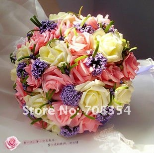 Multi-color High Grade 30 Big Rose Brial Hand Flower with Riband/Wedding Throw Bouquet/Photography Props/Simulation Flower B114