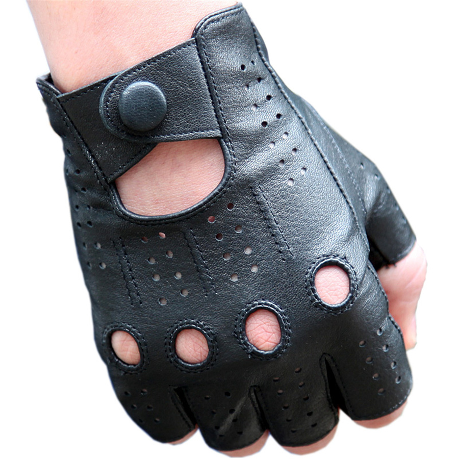 Men'S The Latest High-Quality Semi-Finger Genuine Leather Gloves  Thin Section Driving Fingerless Sheepskin Gloves 3-M046P