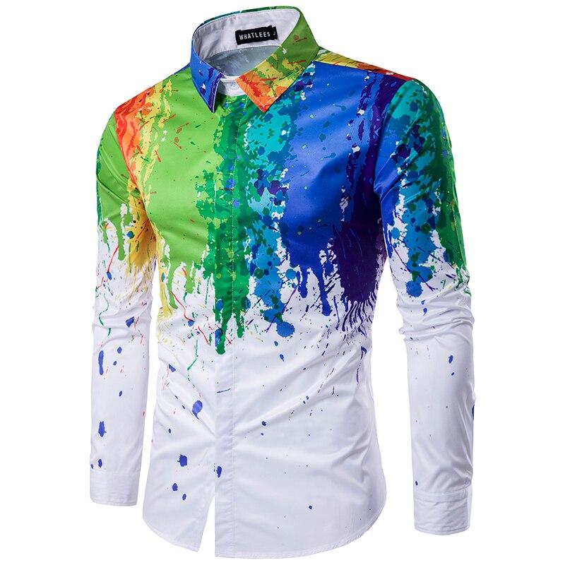 Talla grande 2018 camisa de color casual para hombre tinta pintura color  autocultivable ocio 6 personalidad color camisa de manga larga en Camisas  casuales ... 82cd1d9ce3f