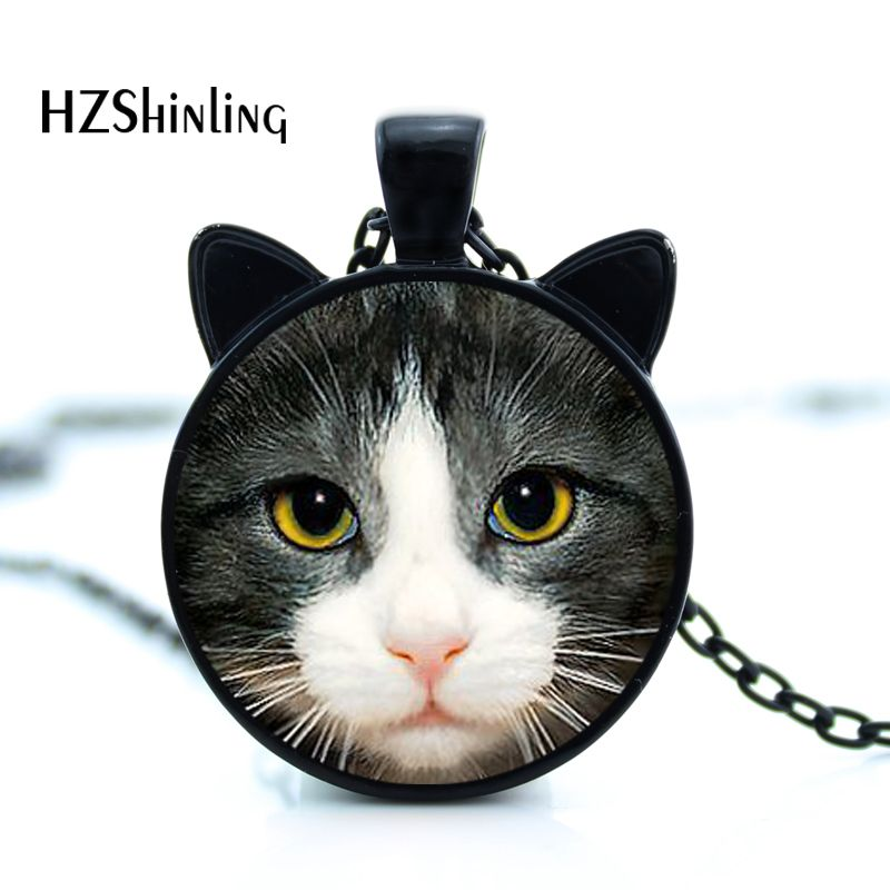 CN-00795 2017 New Black Cat Halskjede Cute Cat Face Anheng Cat Ear Smykker Glass Foto Anheng Halskjede HZ2