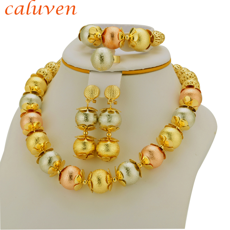 Etiopské šperky Set Móda Africké korálky Set Eritrea / Nigerian / Arab / Habesha Gold bílá barva míč Ženy dárek  t