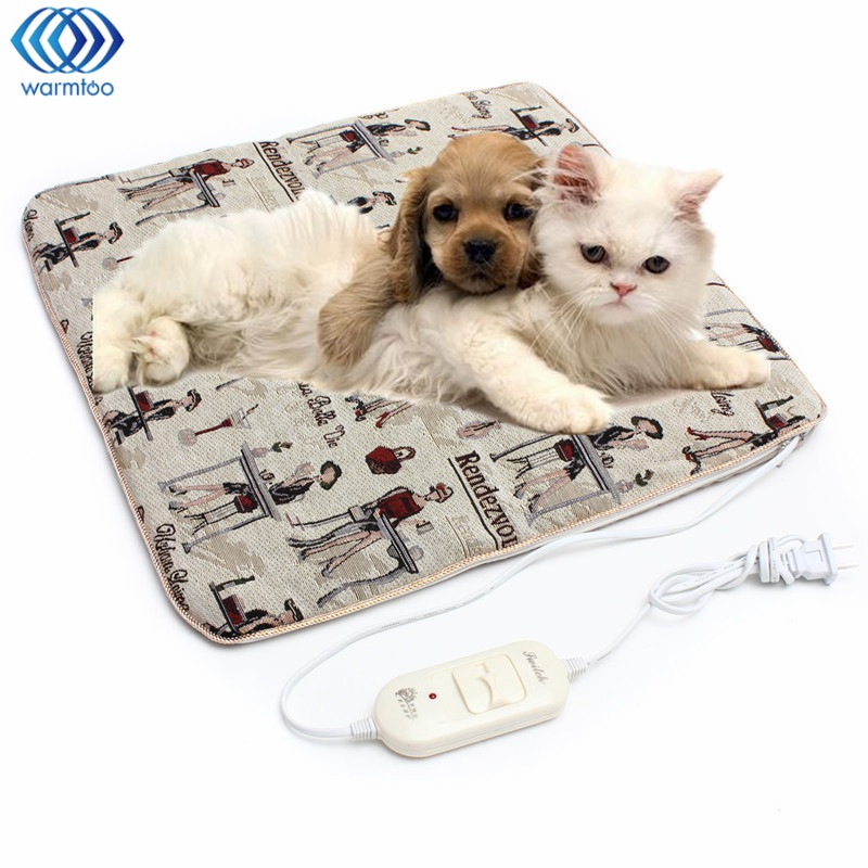 Electric Blanket Pet Heating Pad Adjustable Temperature 45x45cm Linen Cloth Washable Dog Cat Bunny Blanket 20W 220V Random Style electric blanket automatic protection type thickening single electric blanket body warmer the heated blanket electric mat carpet