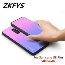 ZKFYS For Samsung Galaxy S8 Plus Wireless Magnetic Ultra Thin Fast Charger Battery Case 5000mAh Back Clip