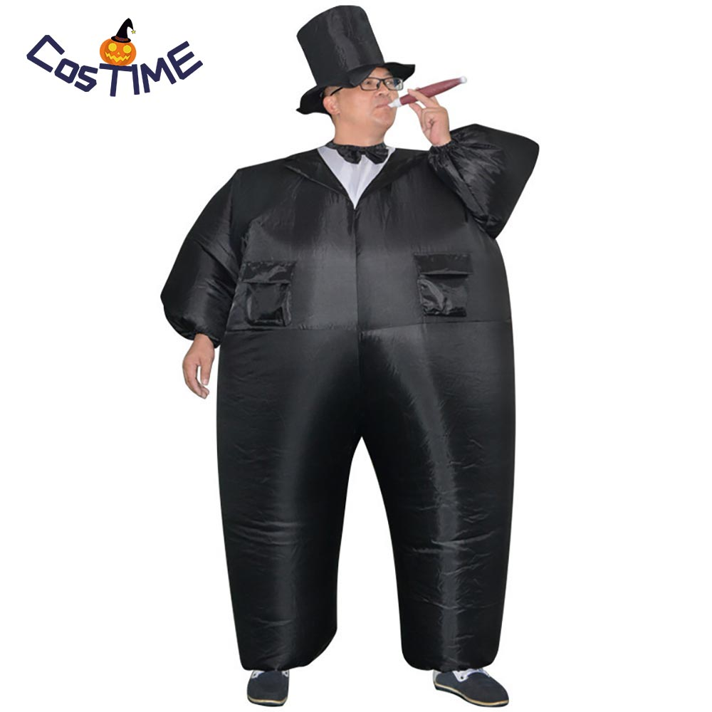 Inflatable Black Tuxedo Suit Fat Gentleman Inflatable Costume Chub Fancy Dress Fun Toy Halloween Carnival Costumes for Adult