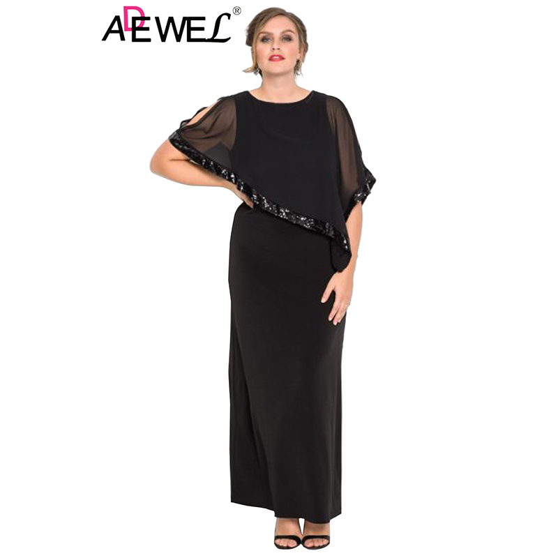 ADEWEL Black Plus Size Cold Shoulder Sequin Mesh Poncho Lady Dress Casual Round Neck Tank with Slits on Sides Maxi Womens Dress