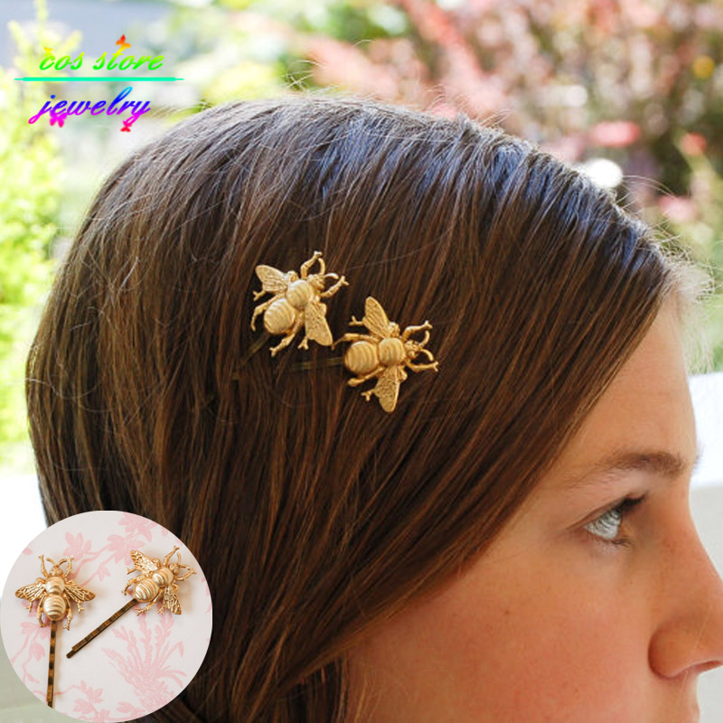 honey bee hair style summer style sweet gold honey bee bobby pins hair 5408 | Summer Style Sweet Gold Honey Bee Fairy Bobby Pins Hair Jewelry Wedding Hair Accessories