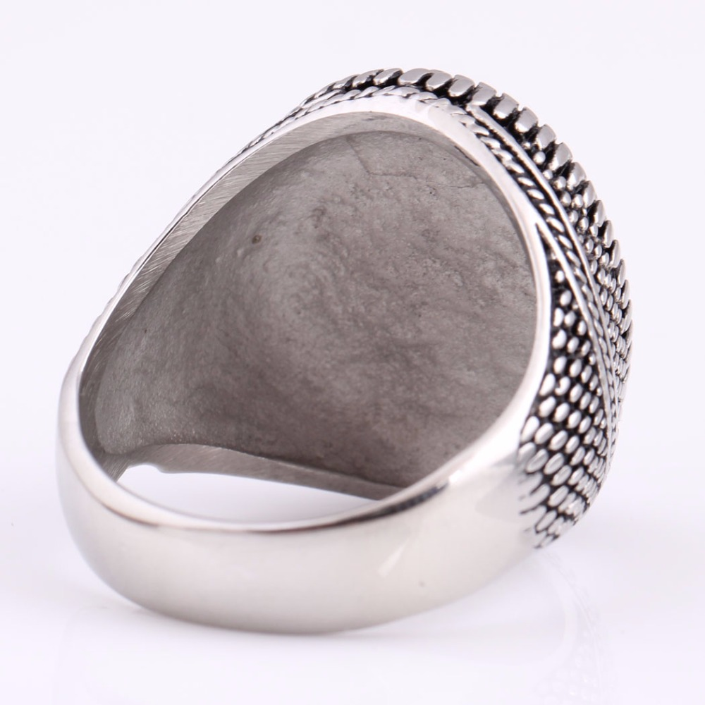 Fashion Super Hero Ring Men's Ring With Black Stone Ring 316L Stainless Steel Jewelry Vintage Silver Plated Ring 5
