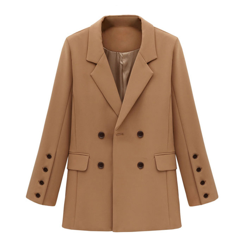 2019 New spring double breasted blazer women fashion office work blazers(China)
