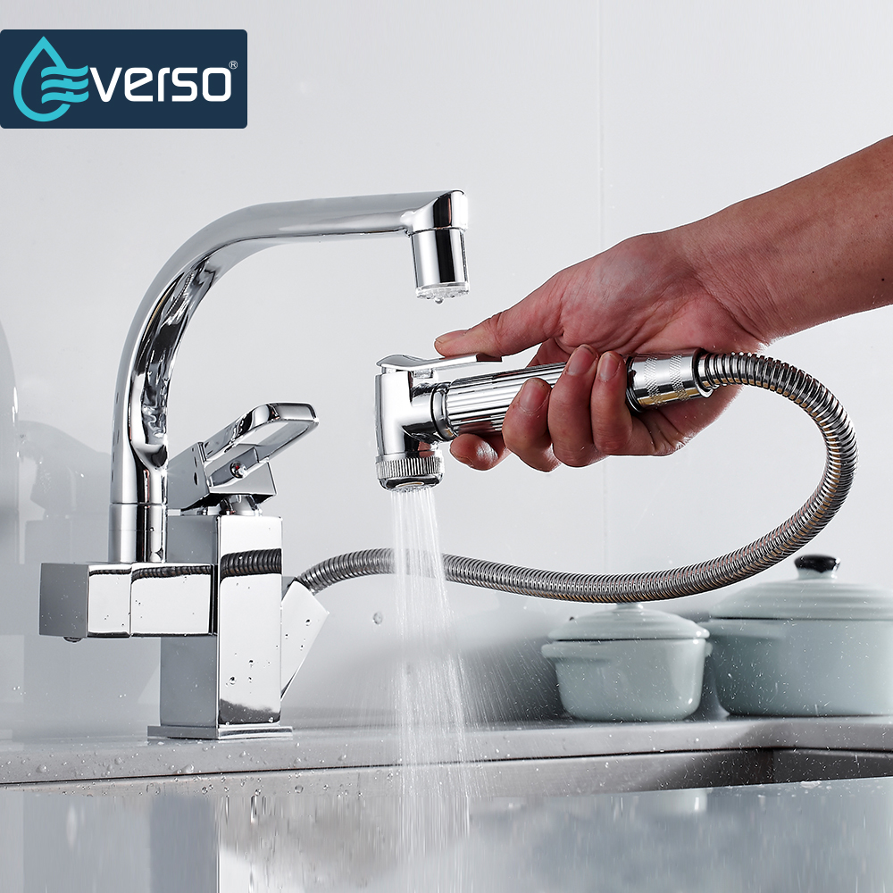 EVERSO Polished Chrome Brass Double Spouts 360 Degree&Pull Out Kitchen Faucet Kitchen Tap Sink Mixer Hot and Cold Water 100% brass chrome polished hot and cold water purifier tap 3 way kitchen sink mixer faucet 2 holes drinking water tap kf042