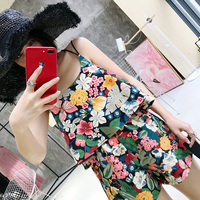 2017 Summer Wear New Product Crossing Both Camisole Flower Printing Elegant Shorts Leisure Time Woman G17