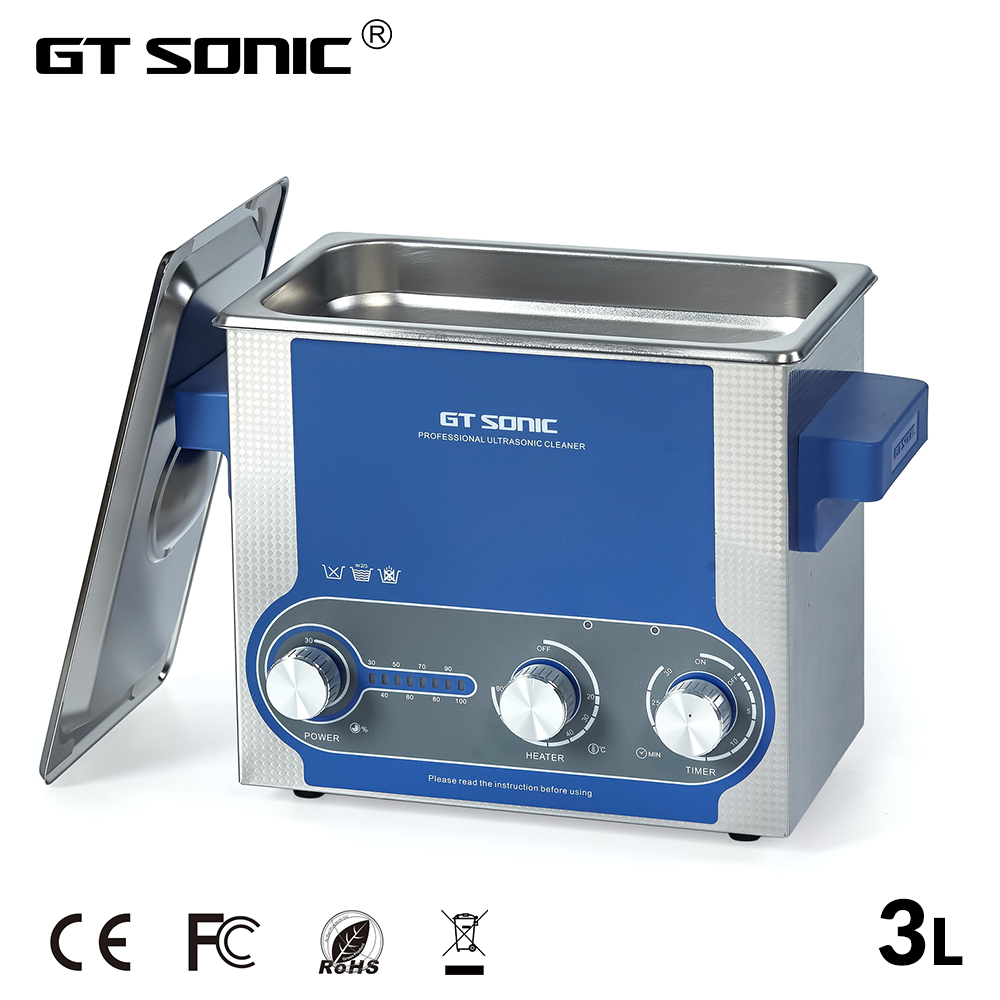 GTSONIC Ultrasonic Cleaner Bath 3L Power Adjustable 30 100W Jewelry Ring Watches Glasses Manicure Denture Necklace Tool Parts-in Ultrasonic Cleaners from Home Appliances    1