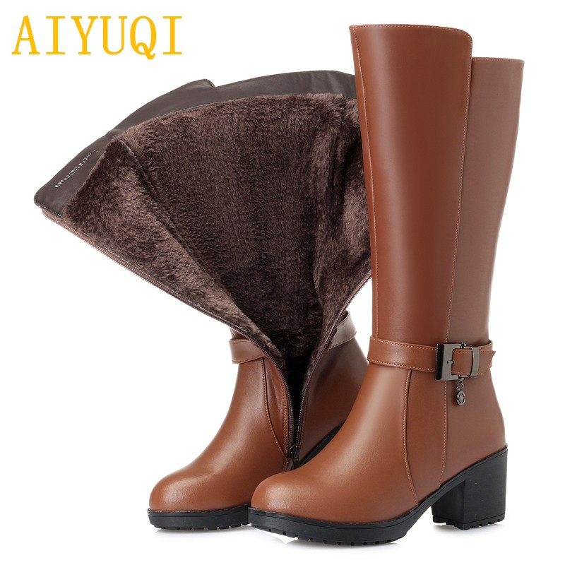 AIYUQI Winter boots women 2019 new genuine leather luxury women snowshoes big size 35 42 thicken wool female motorcycle boots in Mid Calf Boots from Shoes
