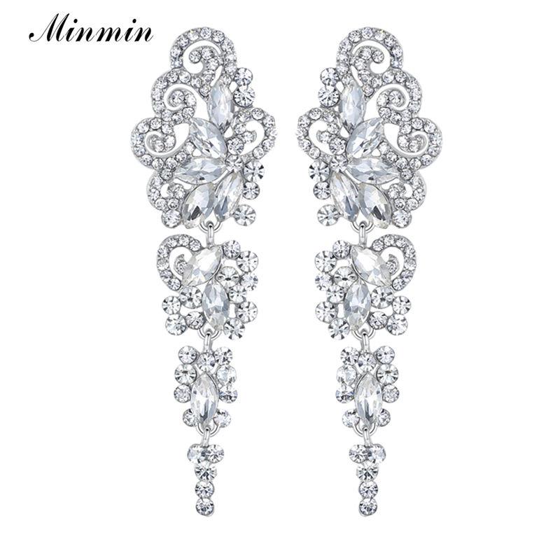 Minmin Silver Floral Crystal Long Bridal Earrings Әйелдер үшін Luxury Wedding Engagement Drop Dangle Earrings Fashion Jewelry EH295