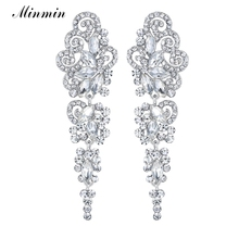 Minmin Fashion Jewelry Waterdrop Small Leaf Austrian Crystal Earrings for Women White Gold Plated Wedding EH295