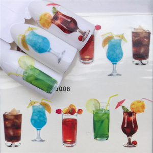 Nail sticker art decoration slider juice wine glass adhesive Water Transfer decals manicure lacquer accessoires polish foil