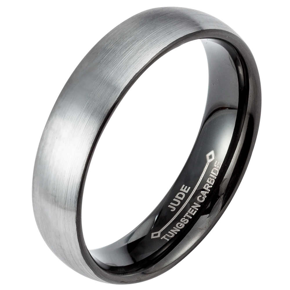 18f99c38ad911a ... Men Women 6MM 8MM Black Tungsten Carbide Ring Brushed Domed Wedding  Engagement Anniversary Cocktail Graduation Father ...