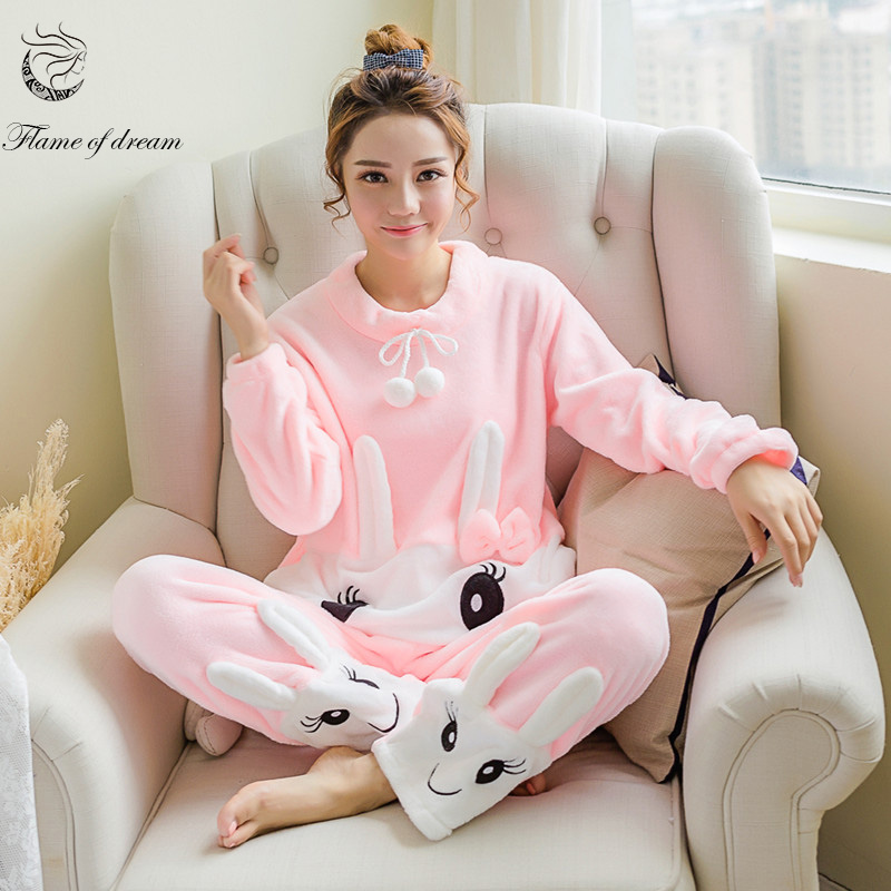 2017 new winter   pajamas     sets   Two Piece   Set   Roupas Feminina Womens Pyjamas Sleepwear 1132